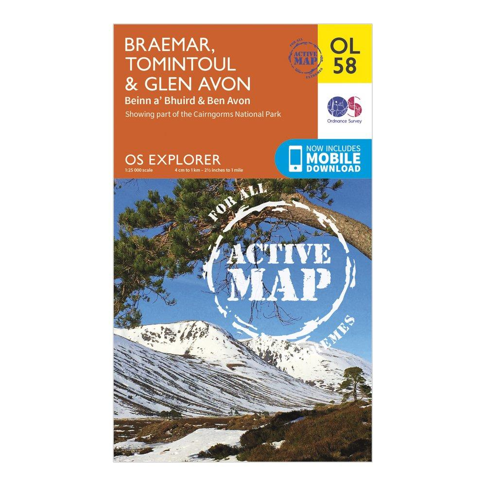 Ordnance Survey Ordnance Survey Explorer Active OL 58 Braemar, Tomintoul & Glen Avon Map - Orange, Orange