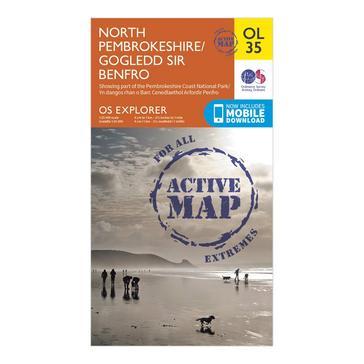 Orange Ordnance Survey Explorer Active OL35 North Pembrokeshire Map With Digital Version
