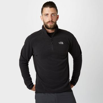 Black THE NORTH FACE Men s 100 Glacier Half Zip Fleece ... cc5c7ef52