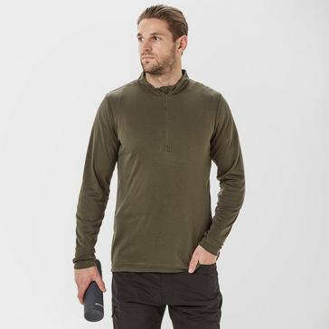 Green Peter Storm Men's Long Sleeve Zip Neck Thermal T-Shirt