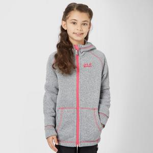 JACK WOLFSKIN Girls' Caribou Lodge Hooded Fleece Jacket