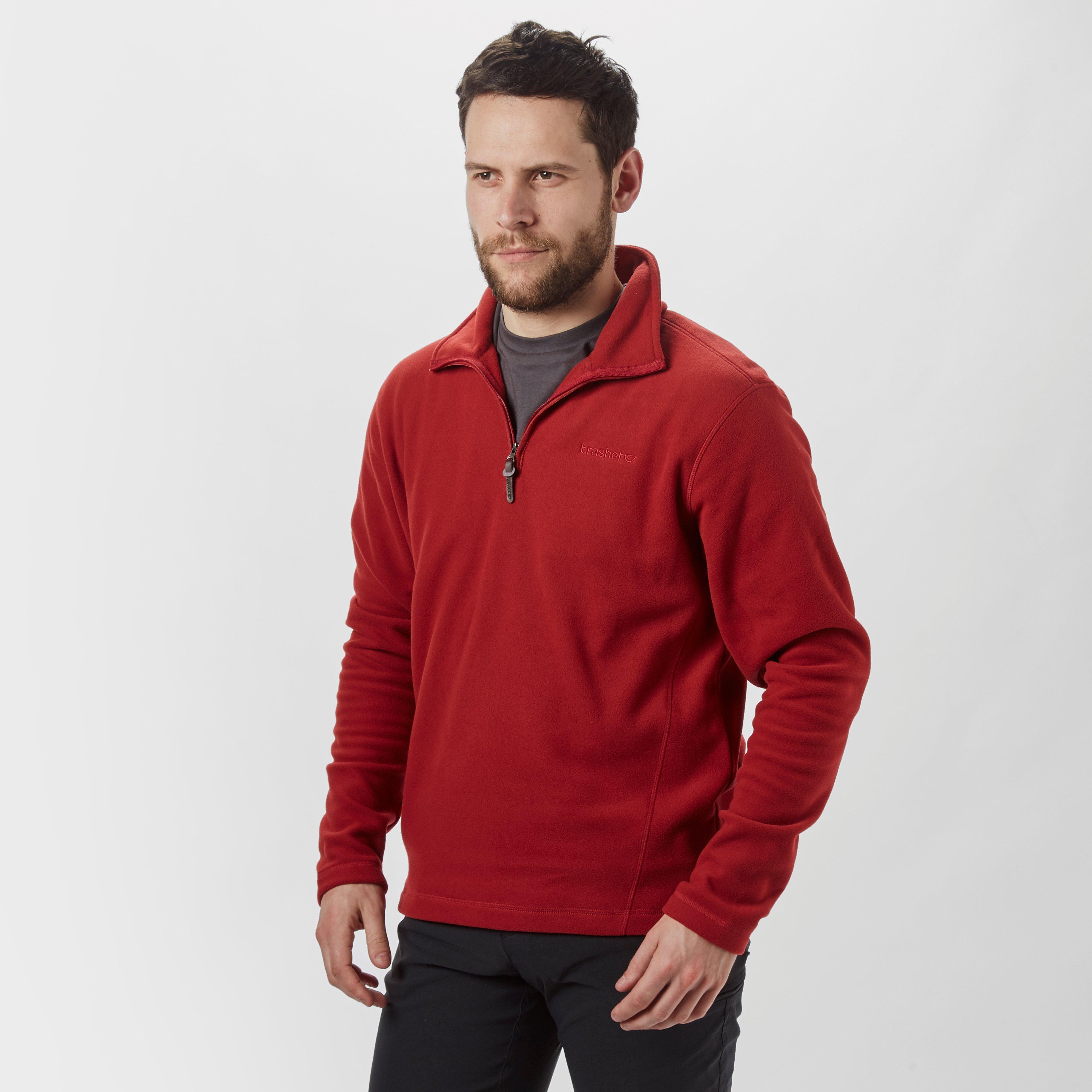 Brasher Brasher Mens Bleaberry Half Zip Fleece - Red, Red