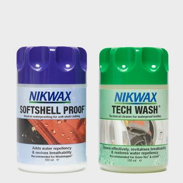 Assorted Nikwax Softshell Proof™ and Tech Wash Wash-In Twin Pack
