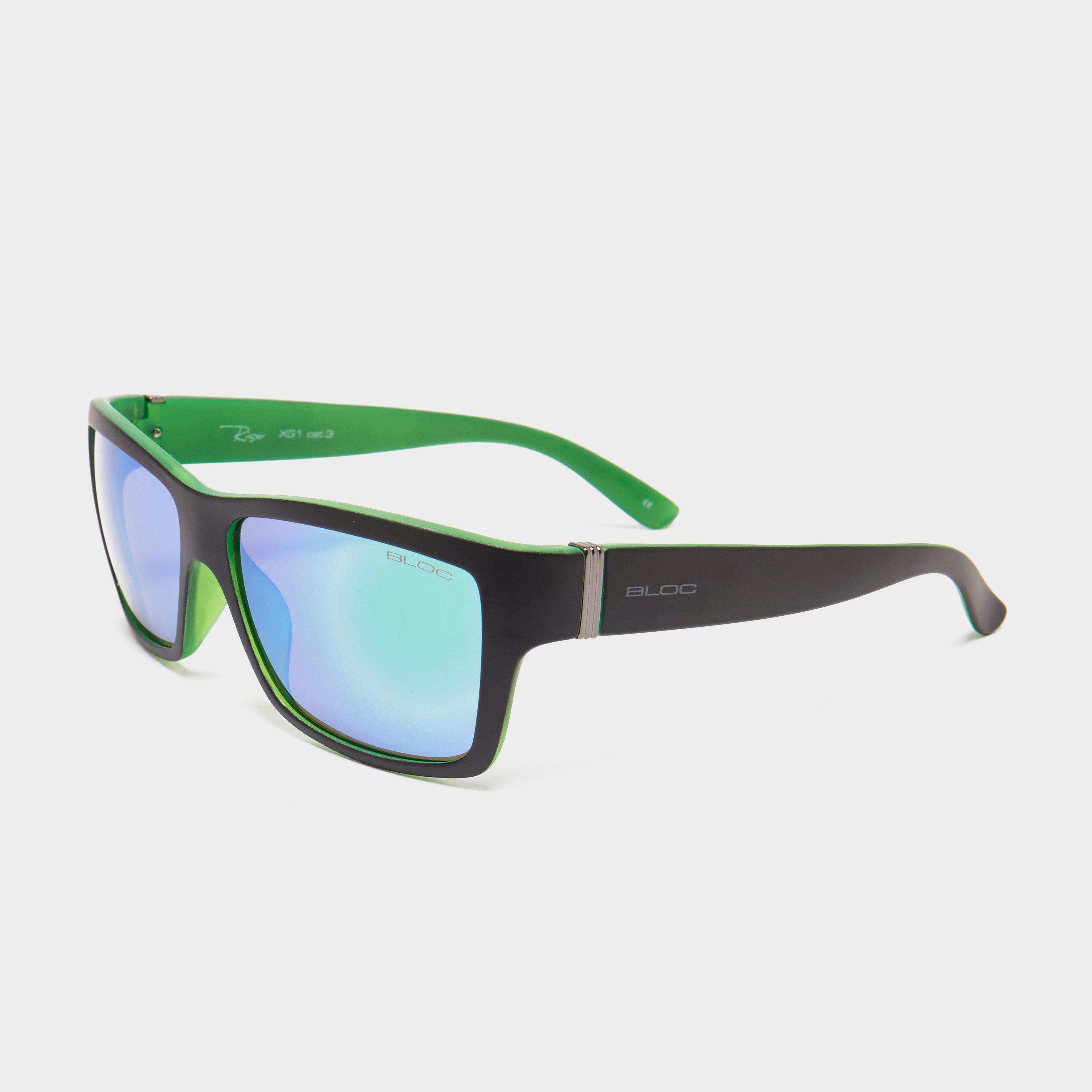 Bloc Men's Riser Sunglasses - Black/Blk/Grn, Black/Green
