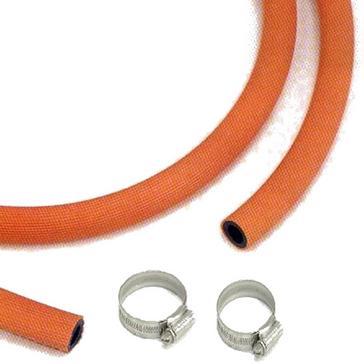 Orange Continental Gas Hose & 2 Clips