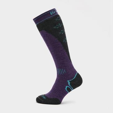 PURPLE Bridgedale Women's Ski Midweight Merino Endurance Over Calf Socks