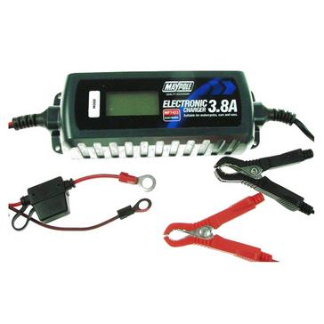 black Maypole Battery Charger (3.8A 12V) Auto Electronic