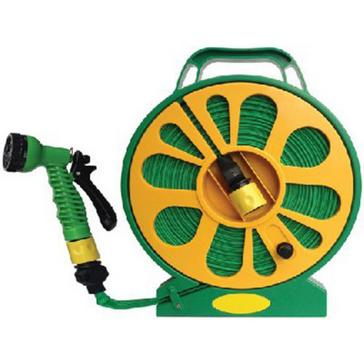 Green STREETWIZE Lay Flat Garden Hose Pipe and Reel with Nozzle