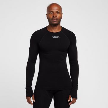Black OEX Men's Barneo Long Sleeve Baselayer Top