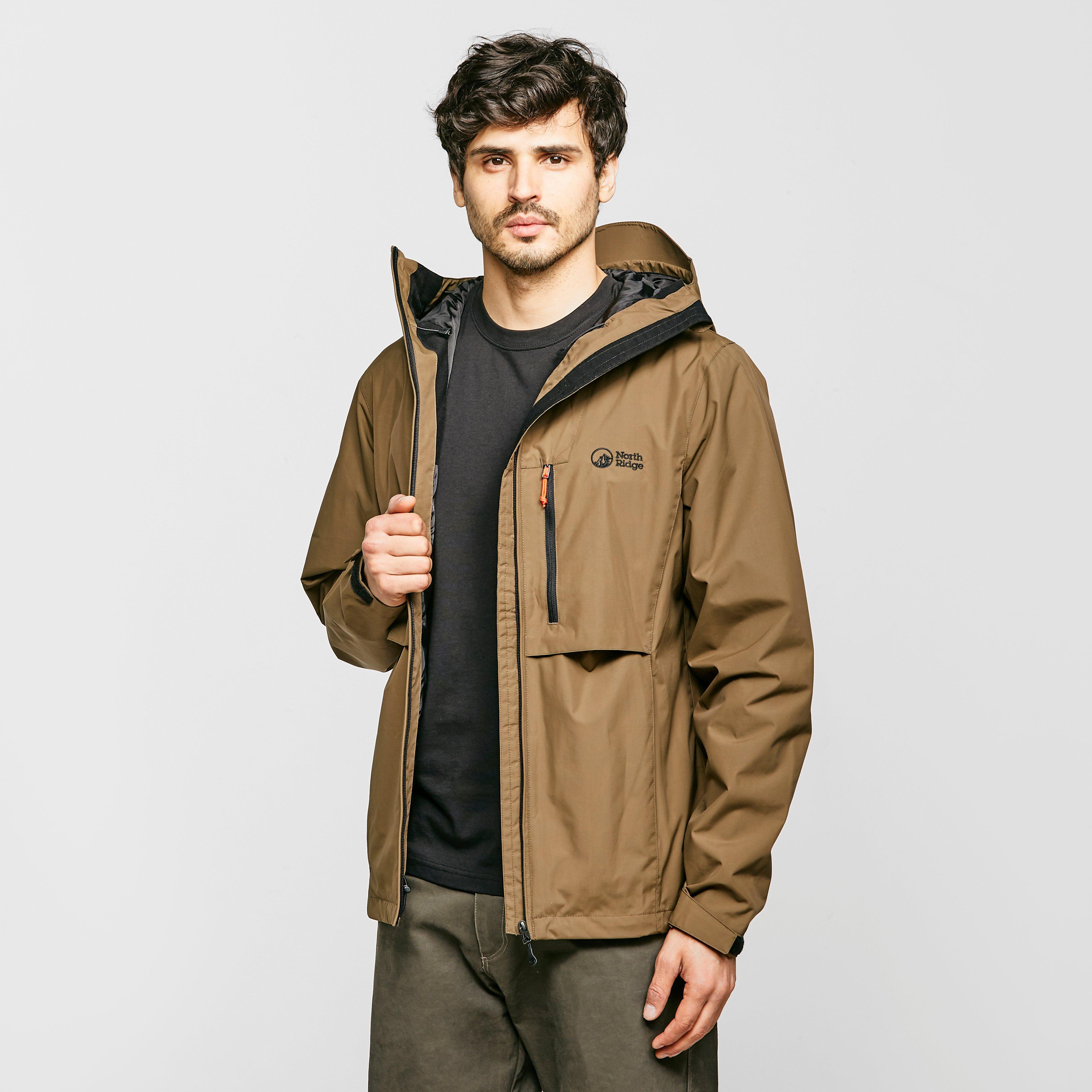 North Ridge Men's Shoalwater Waterproof Jacket - Brown/Khaki, Brown
