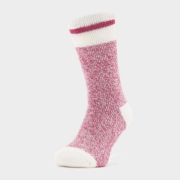 Pink Heat Holders Ladies Cream Block Twist Socks