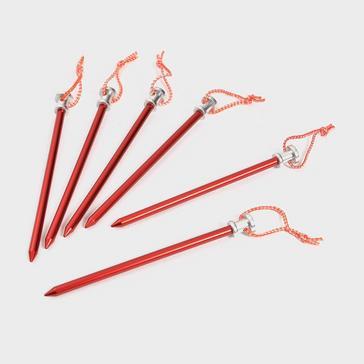 Red OEX Lightweight Aluminium Ground Pegs (Set of 6)