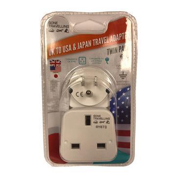 WHITE Boyz Toys 2pk Travel Adaptor - UK to USA & Japan