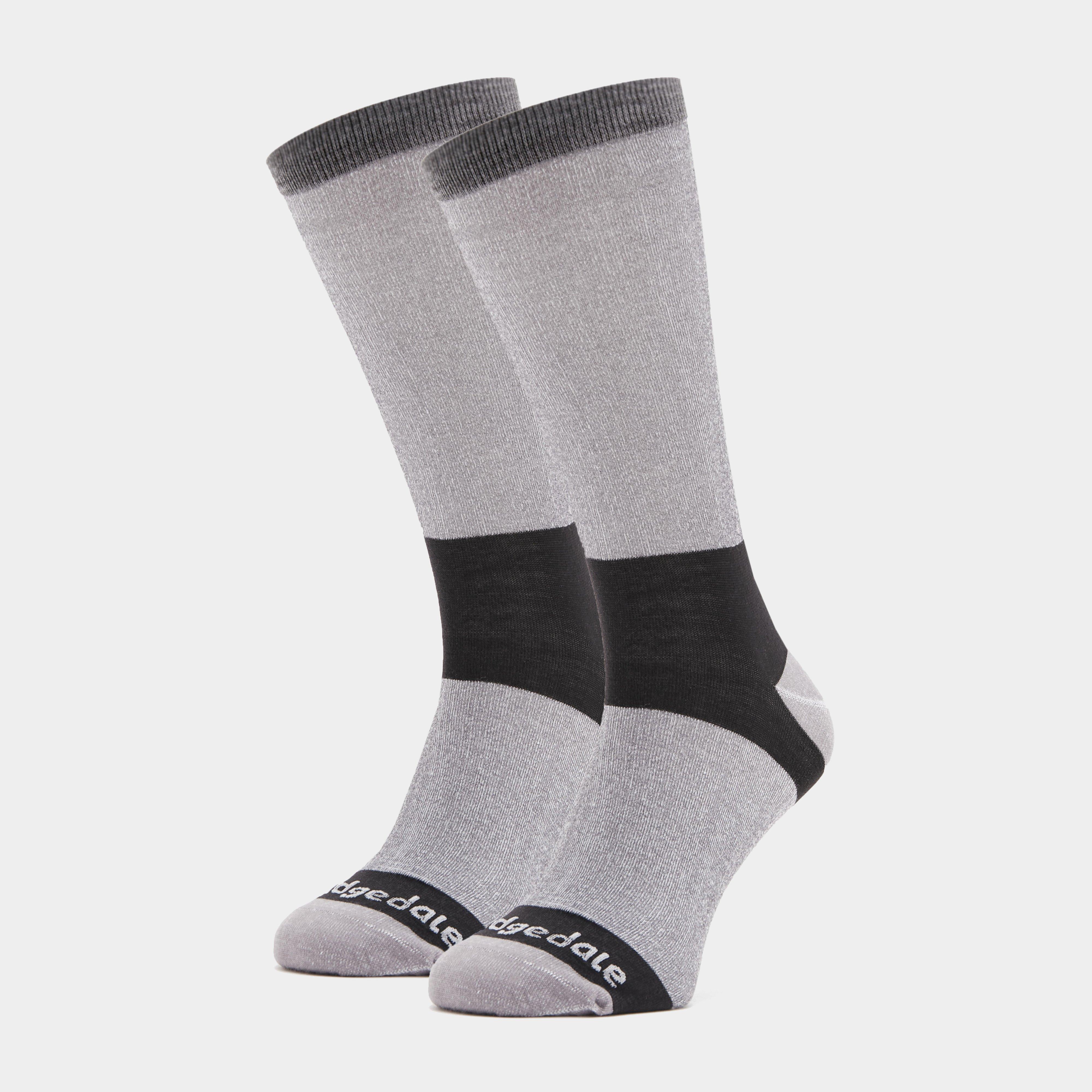 Bridgedale Bridgedale Mens Base Layer Coolmax Liner Boot Socks (2 Pair) - Grey, Grey