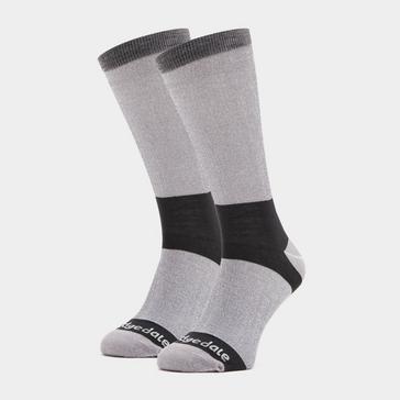 GREY Bridgedale Men's Base Layer Coolmax Liner Boot Socks (2 Pair)