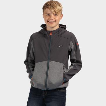 Dark Grey Regatta Kids' Bracknell Softshell Hooded Top