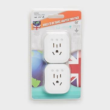 WHITE Boyz Toys Twin Pack Plug Adaptor World to UK