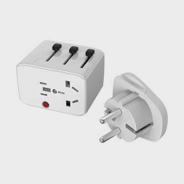 White LIFEVENTURE USB Travel Adapter