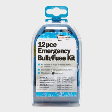 Blue STREETWIZE 12 Piece Emergency Bulb and Fuse Kit