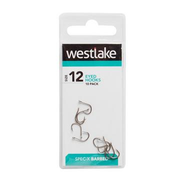 Silver Westlake Barbed Eyed Hooks (Pack of 10) (Size 12)
