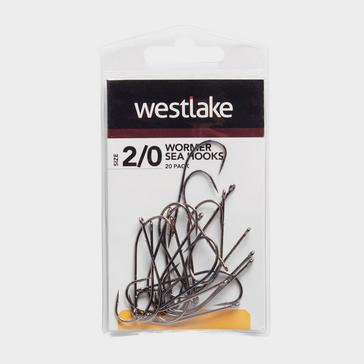 Black Westlake 20Pk Worm Hooks Sz 2/0