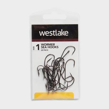 Black Westlake 20Pk Worm Hooks Sz 1