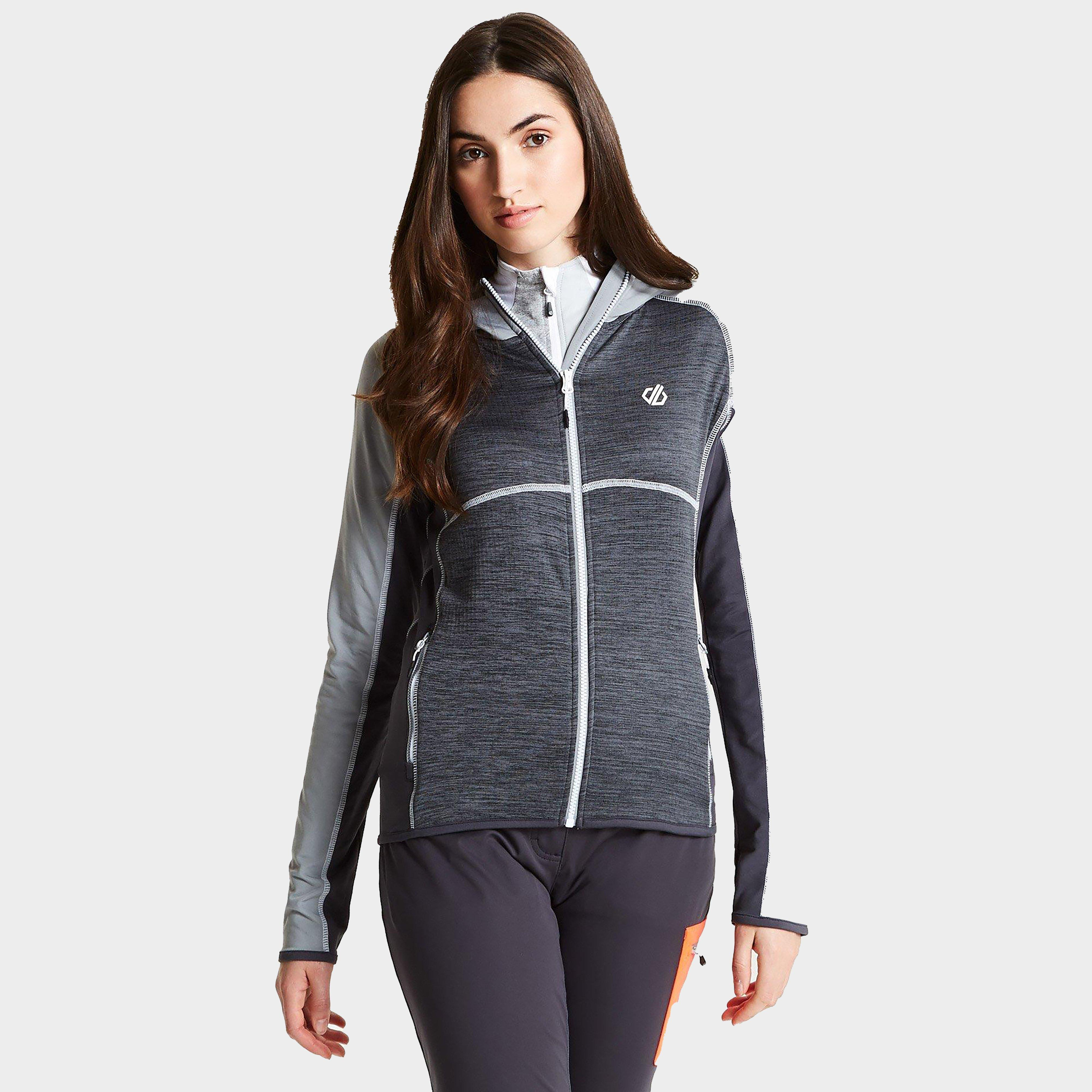 Dare 2b Dare 2B Womens Courteous Hooded Core Stretch Ski Midlayer - Black/Grey, Black/Grey