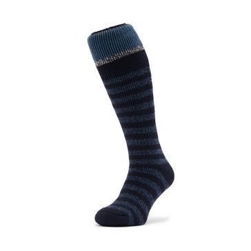 Navy Heat Holders Mens Stripe Ski Sock