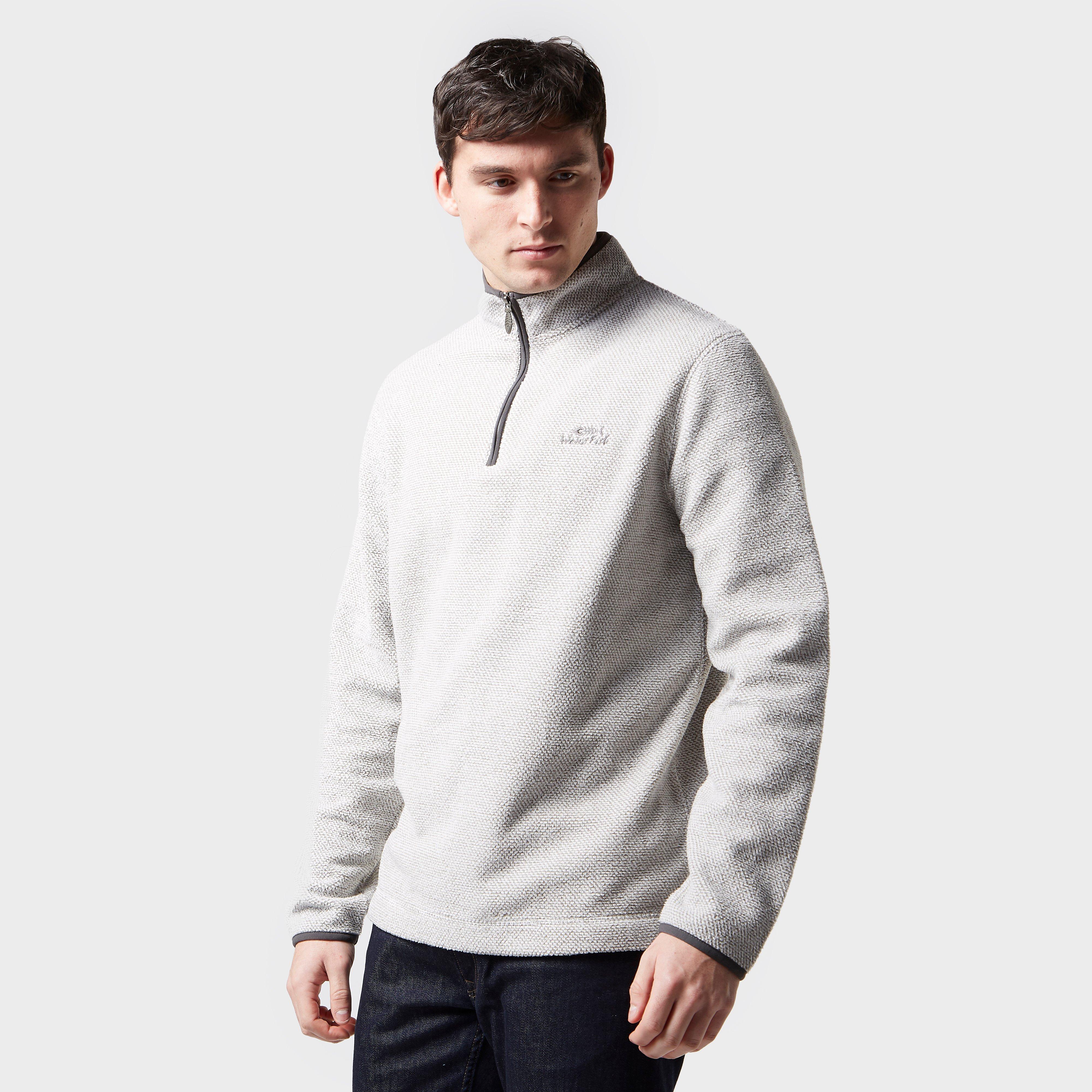 Weird Fish Weird Fish Mens Errill ¼ Zip Textured Fleece Sweatshirt, Cream