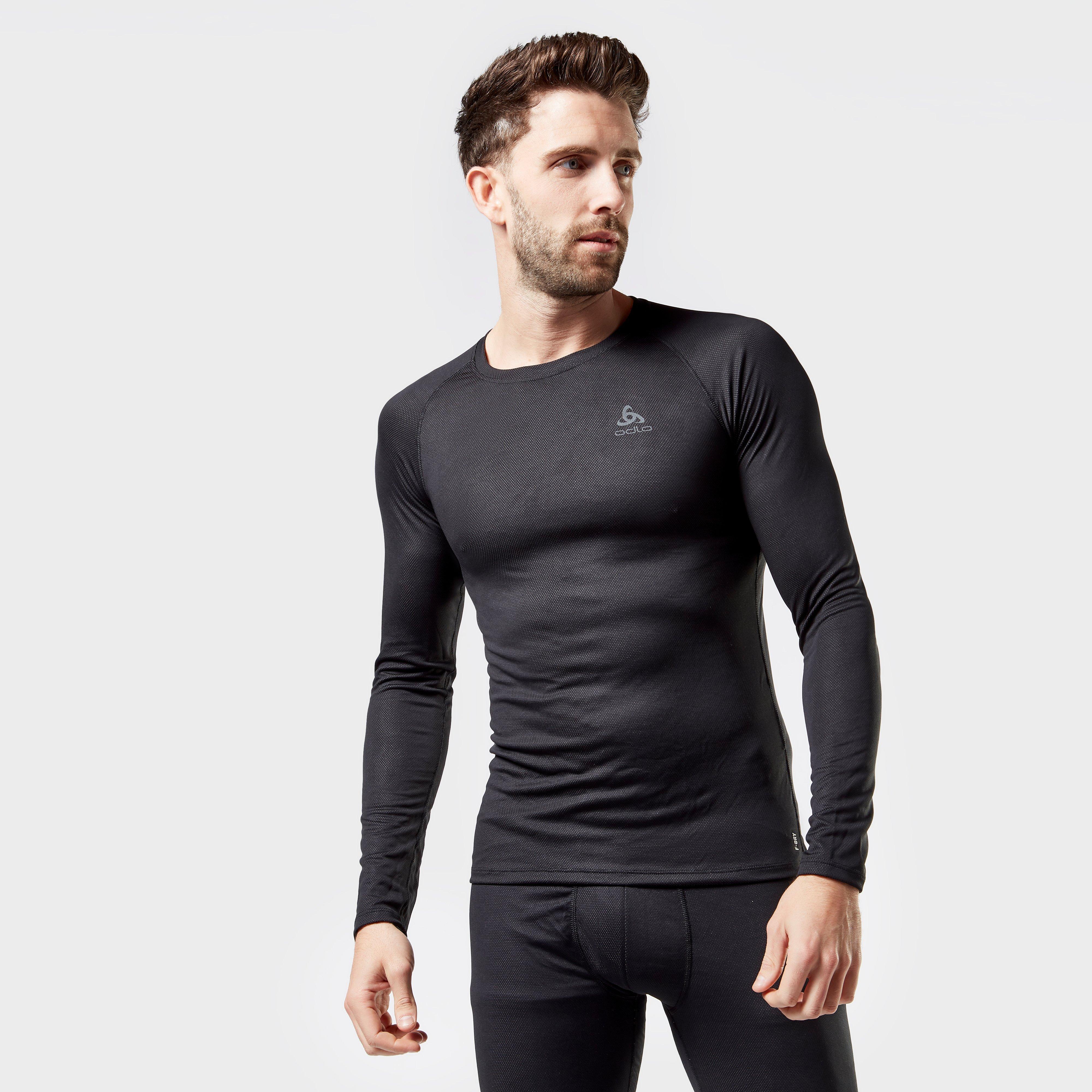 Odlo Odlo Mens Active F-Dry Light Long Sleeve Base Layer Top - Black, Black