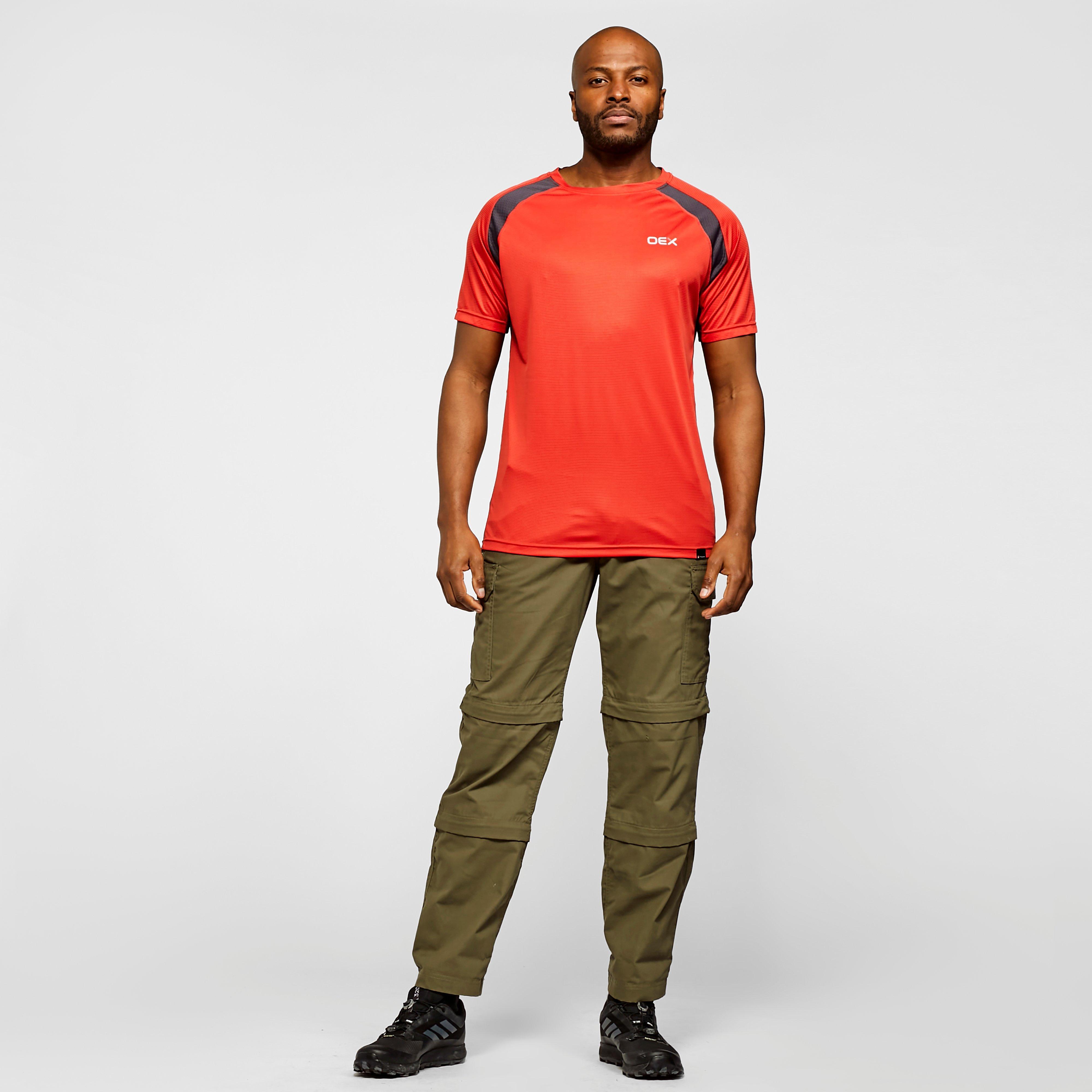 Oex Oex Mens Zephyr Short Sleeve T-Shirt, Red