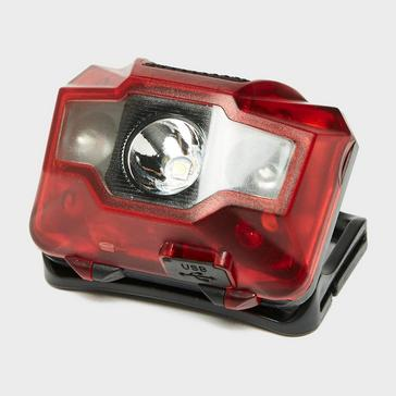 Red OEX Rechargeable Head Torch (3W + 2 LED)