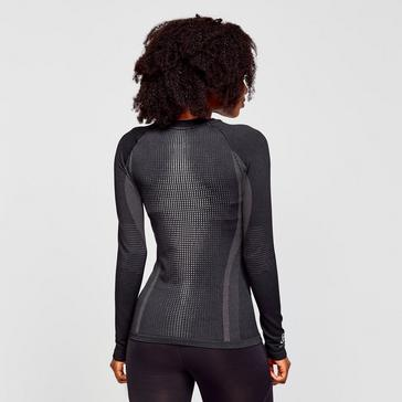 Black Odlo Women's SUW Performance Warm Long Sleeve Baselayer Top