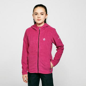 pink Dare 2B Kids' Genesis Hooded Full-Zip Fleece