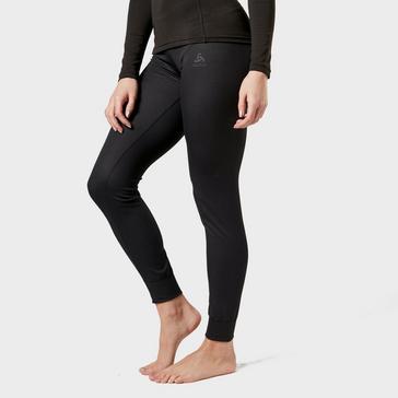 Black Odlo Women's Active F-Dry Light Base Layer Pants