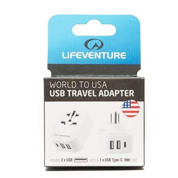 white LIFEVENTURE World to USA Adapter and USB