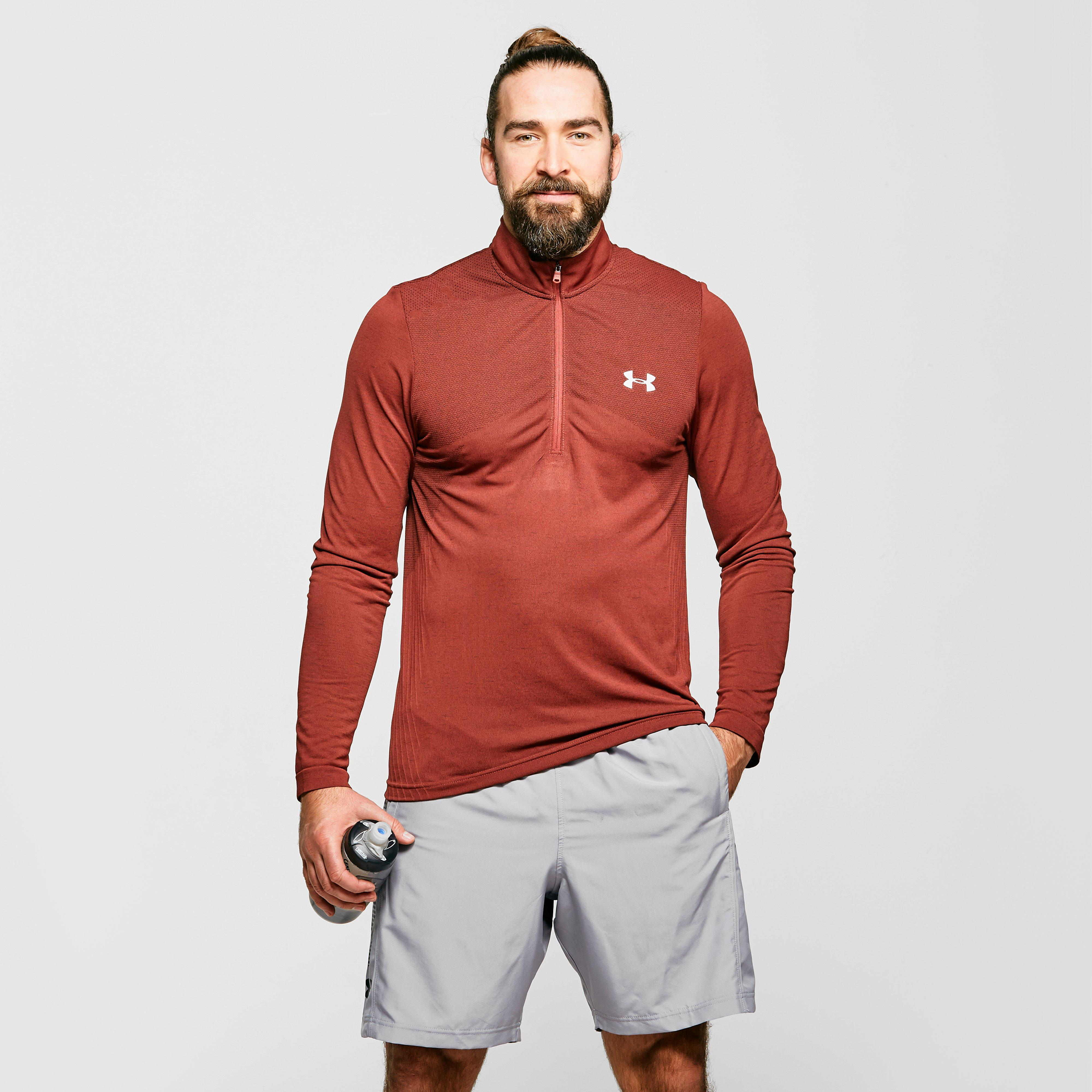Under Armour Men's Ua Seamless Long Sleeve Zip Tee - Red/Drd, Red