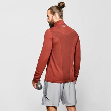 Red Under Armour Men's UA Seamless Long Sleeve Zip Tee