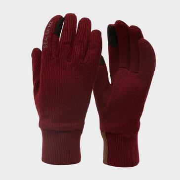 Red Sealskinz Women's Windproof All Weather Knitted Glove