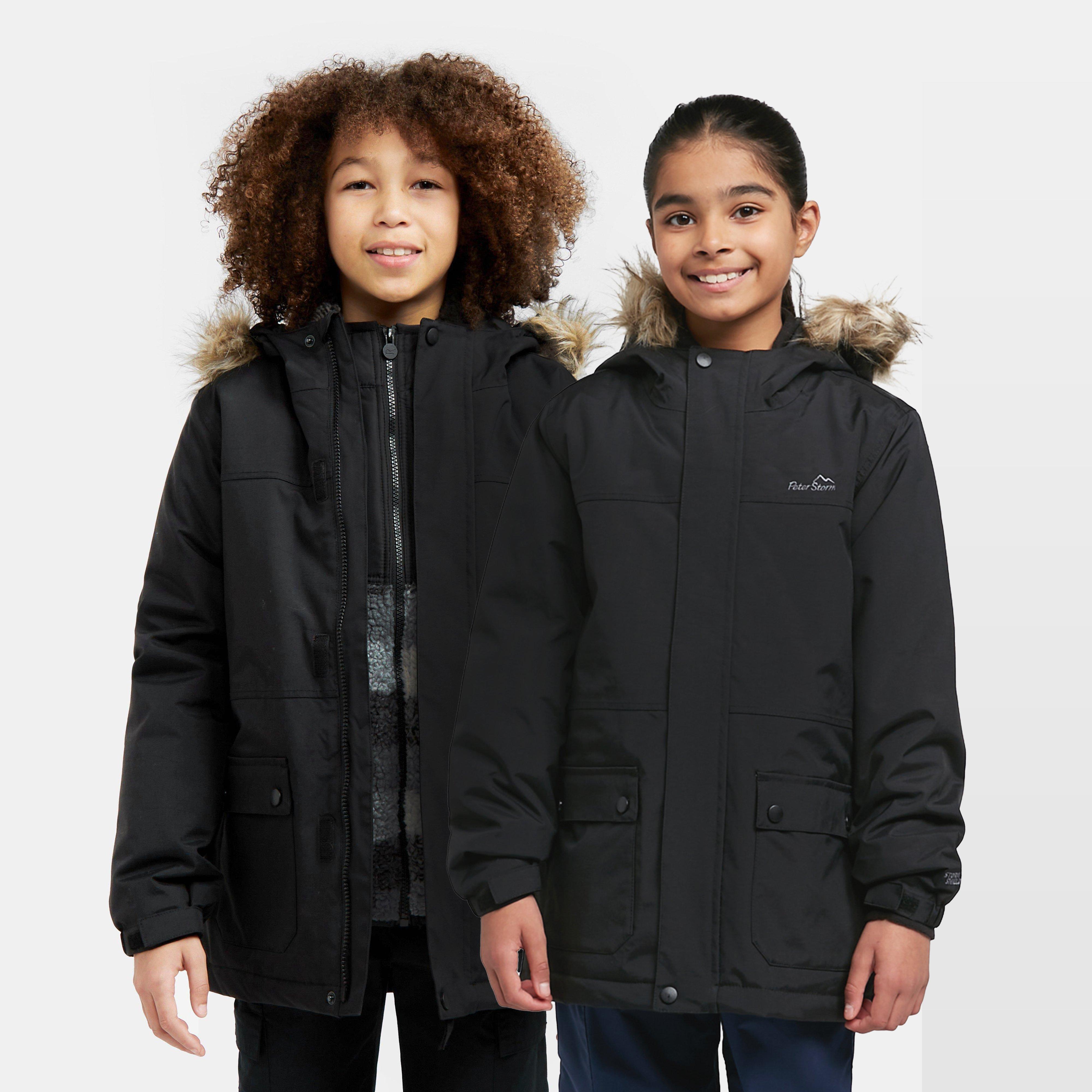Peter Storm Kids' Waterproof Parka - Black, Black