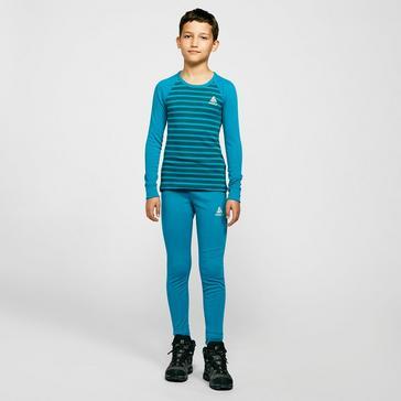 Blue Odlo Kids' Active Warm Eco Baselayer Set