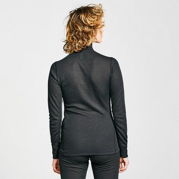 Black Odlo Women's Eco Active Warm Long Sleeve Half Zip Baselayer Top