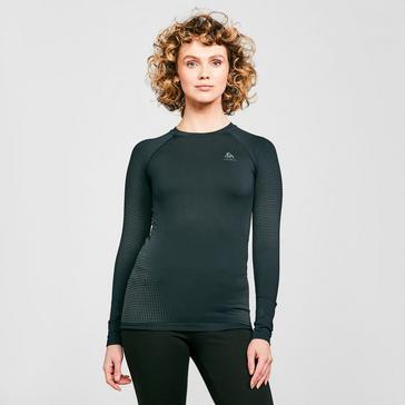 Black Odlo Women's Performance Warm Long Sleeve Base Layer Top