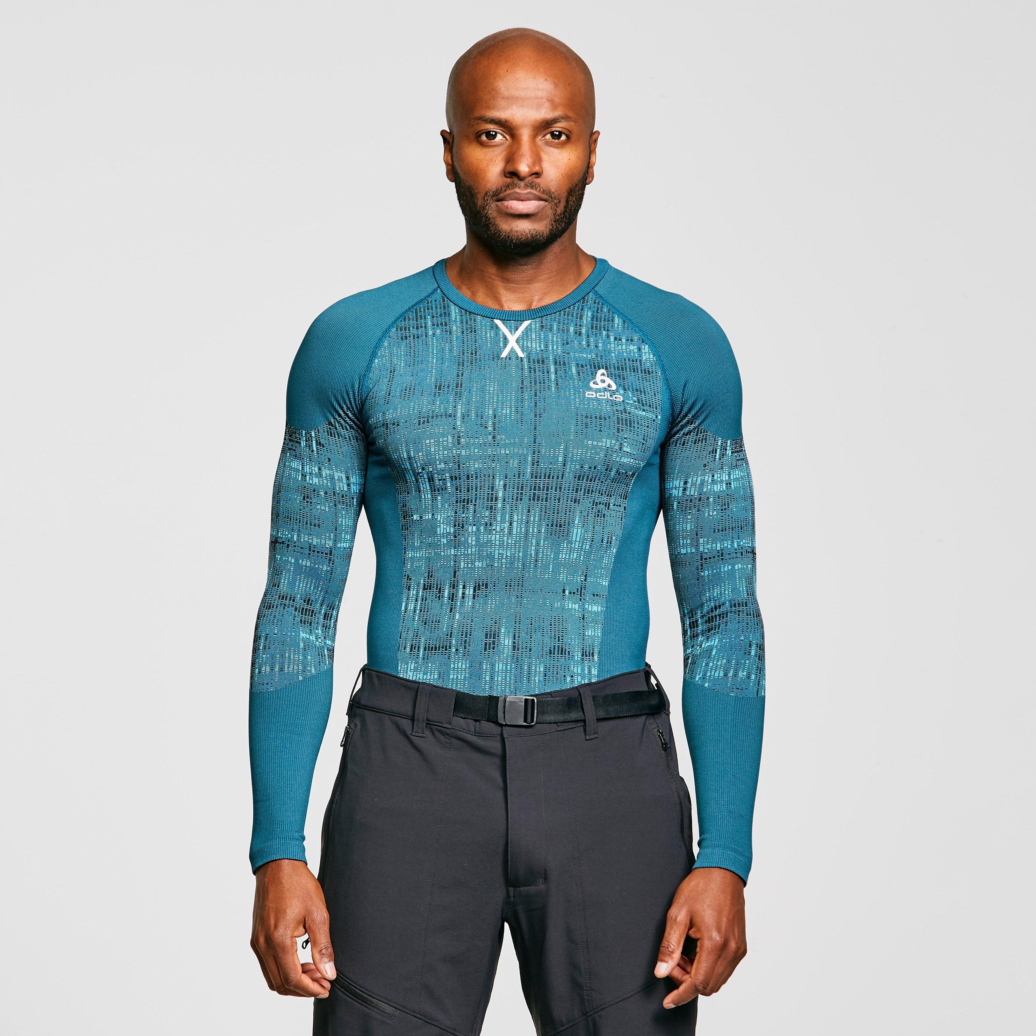 Odlo Men's Blackcomb Baselayer Top - Blue, Blue