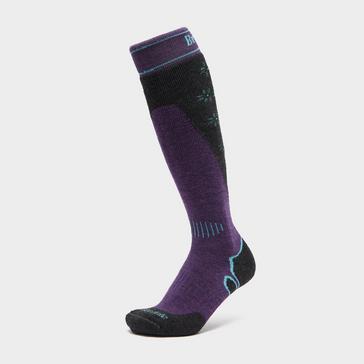 Purple Bridgedale Womens' Merino Wool Plus Ski Sock