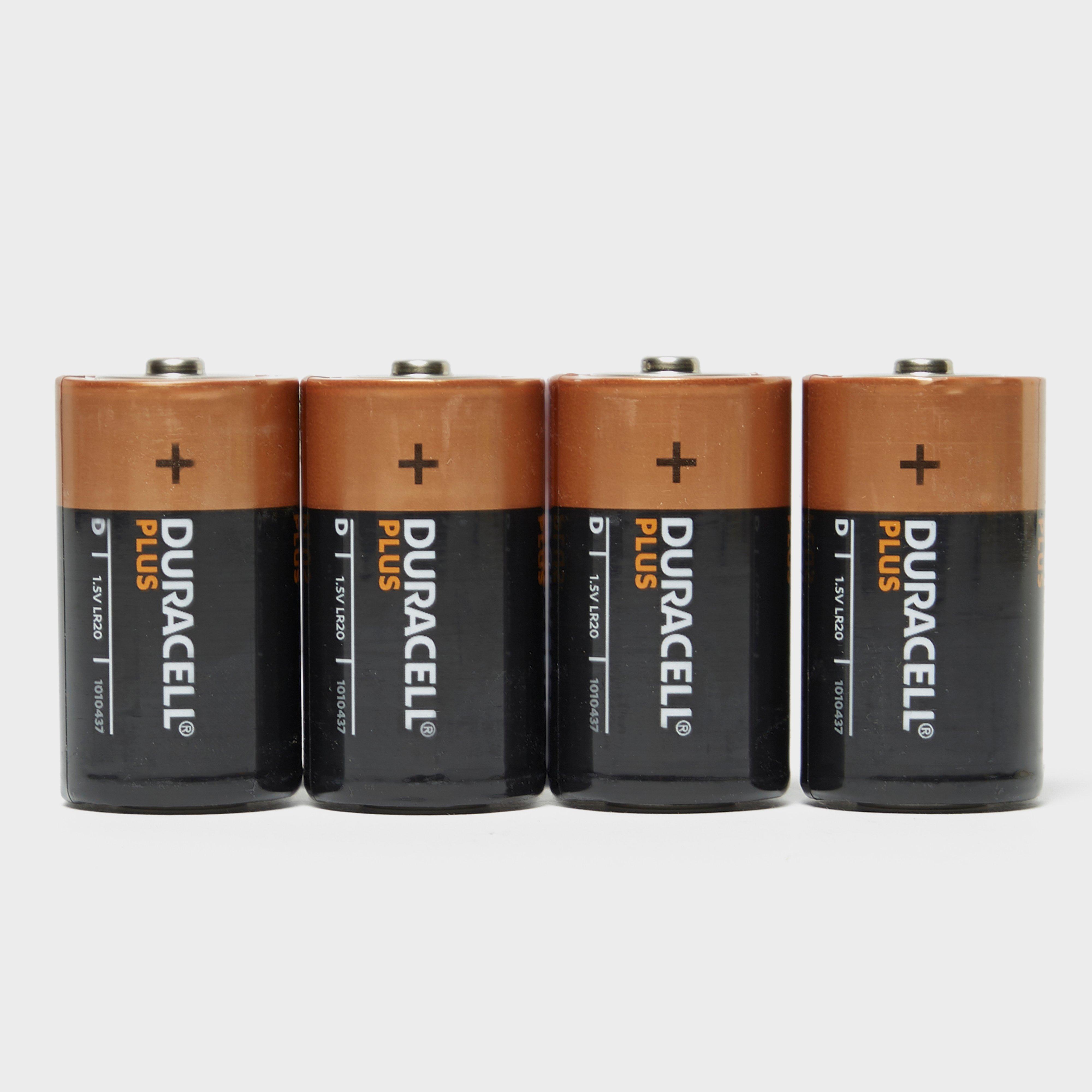 Duracell Plus D Batteries (4 Pack), Black/Orange