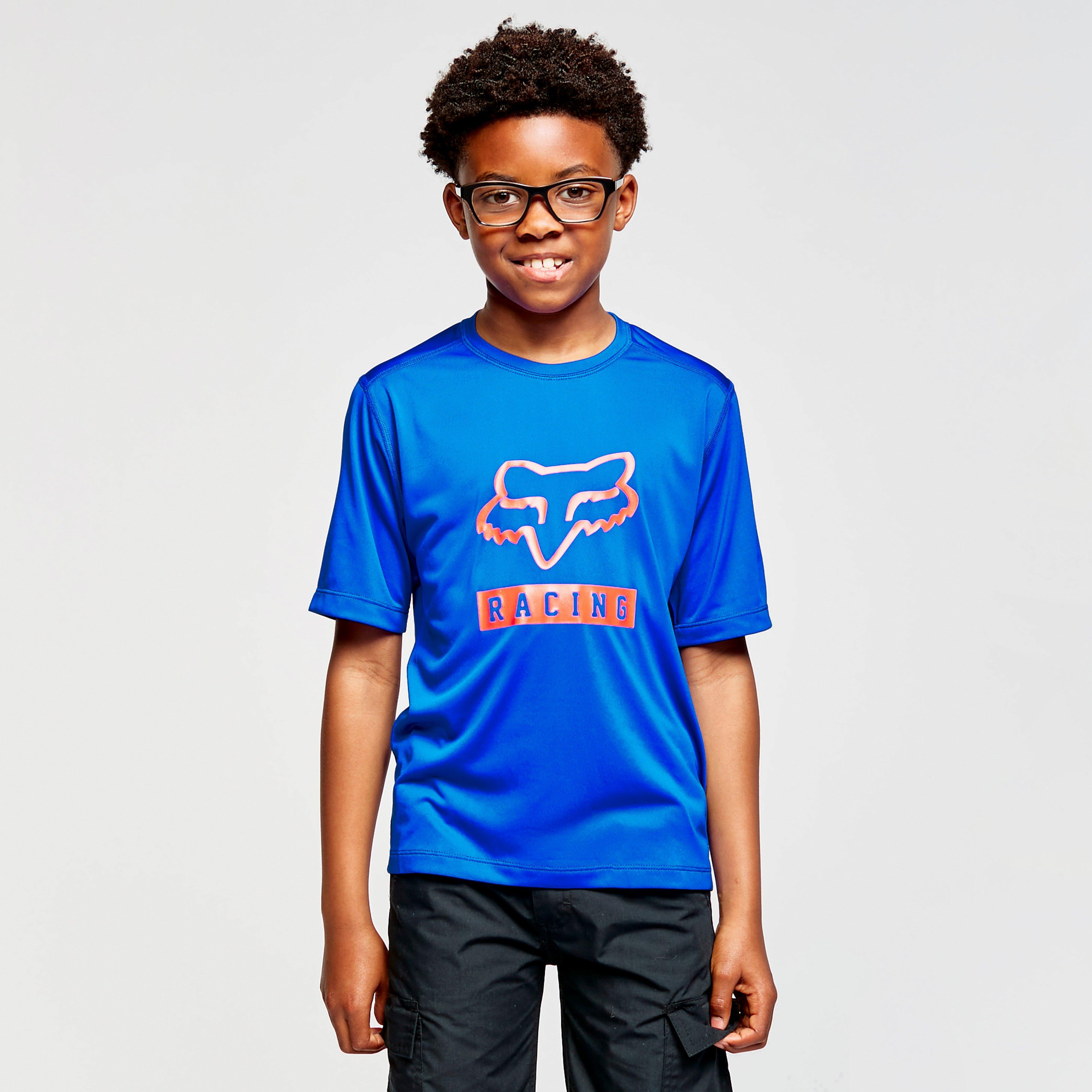Image of Fox Youth Ranger Short-Sleeve Jersey - Blue/Blue, BLUE/BLUE
