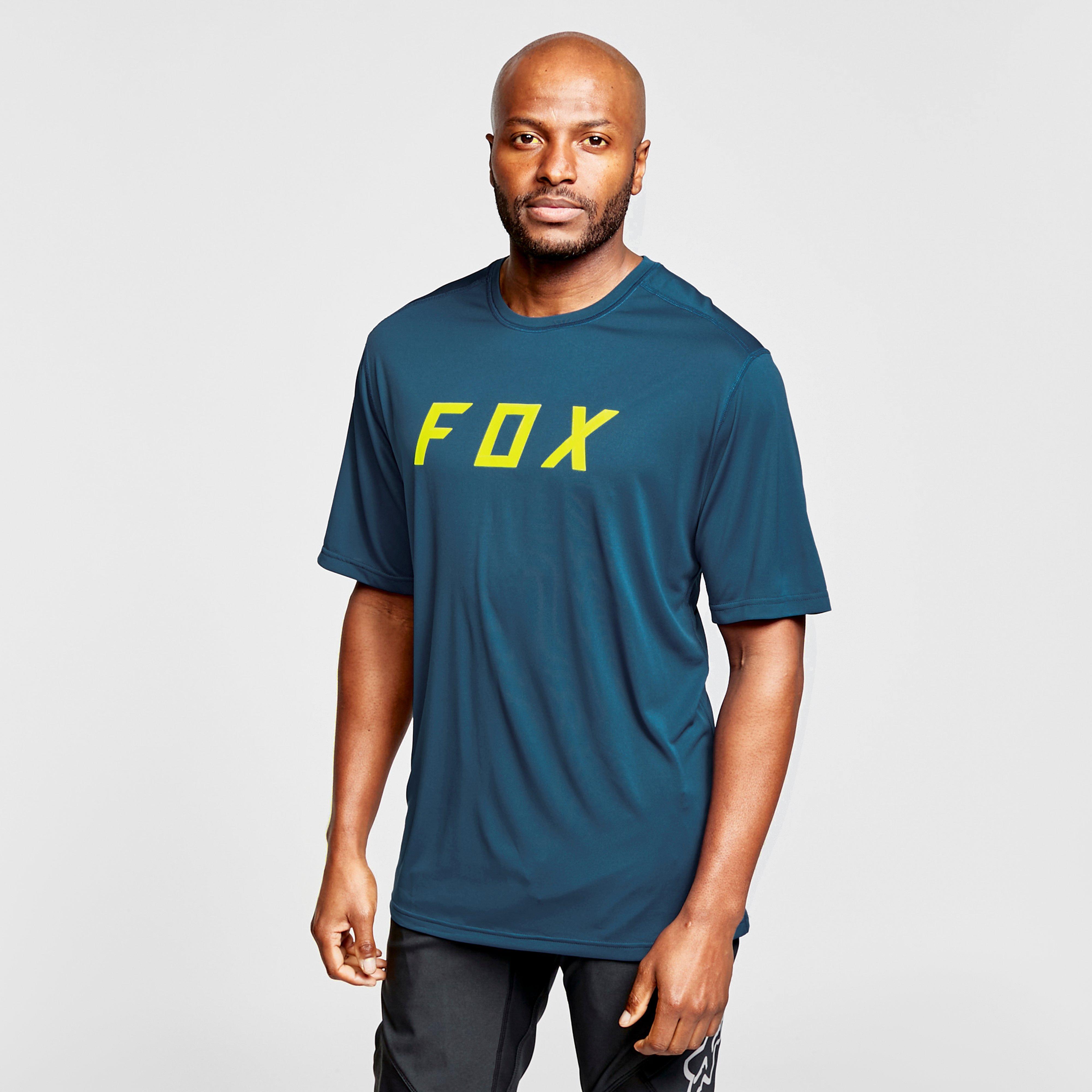 Image of Fox Men's Ranger Short-Sleeve Jersey - Blue/Yellow, BLUE/YELLOW