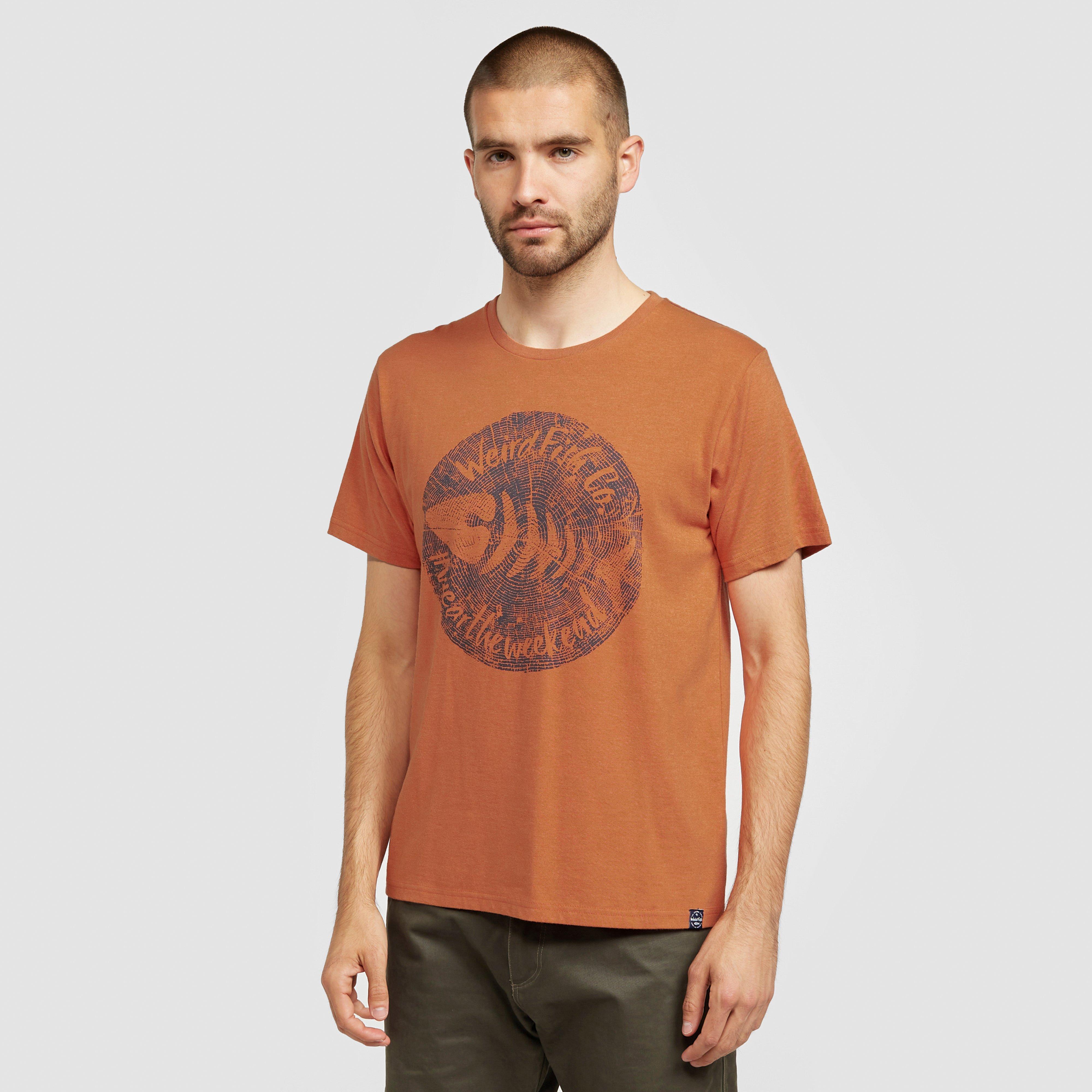 Image of Weird Fish Men's Woodcut T-Shirt - Orange/Orange, ORANGE/ORANGE