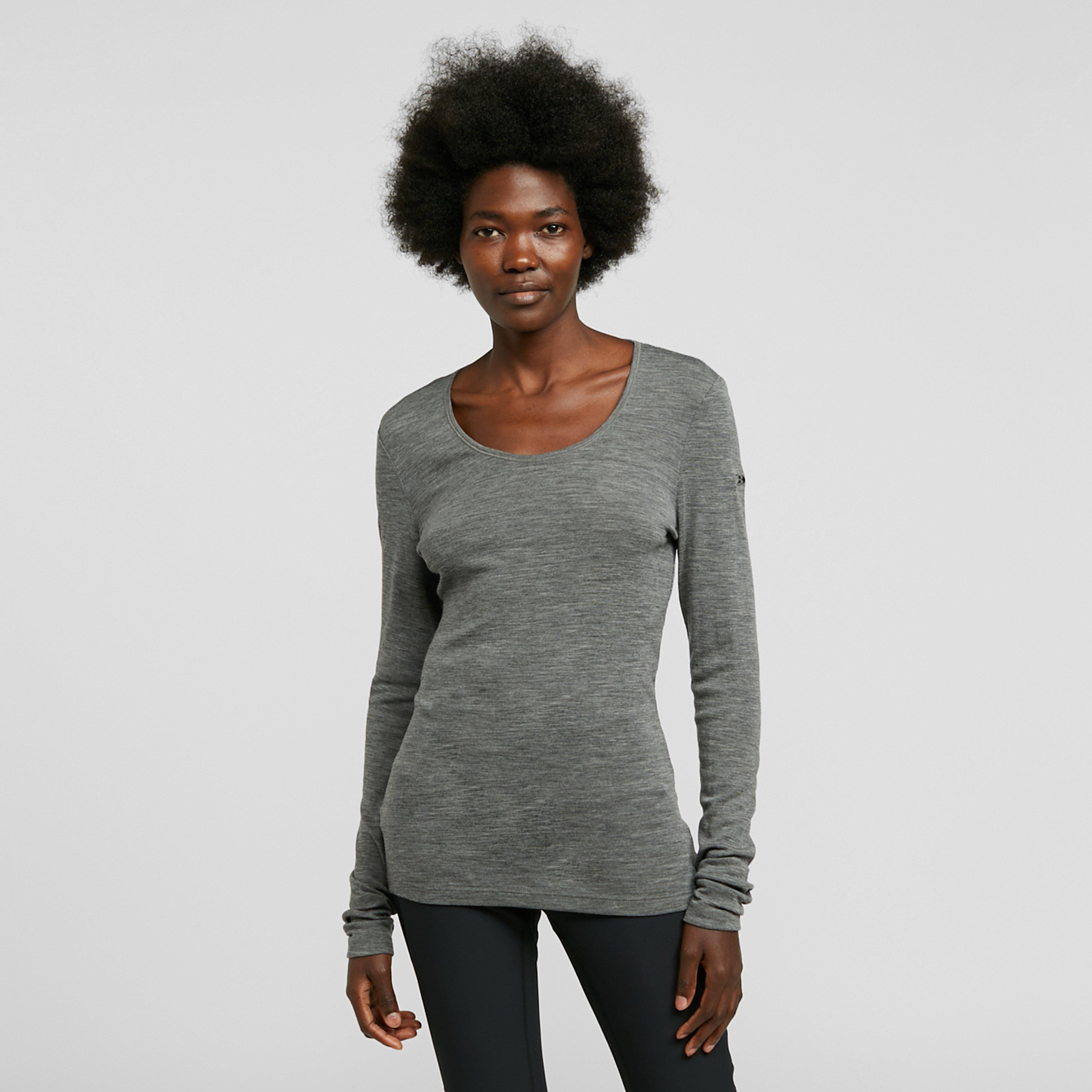 Image of Icebreaker Women's Merino 175 Everyday Long Sleeve Thermal Top - Grey/Scoop, Grey/SCOOP